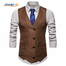 Covrlge Mens New English Style Slim Fit Men Shirt Vest Solid Color Fashion Casual Sleeveless Formal Male Suit MWX031