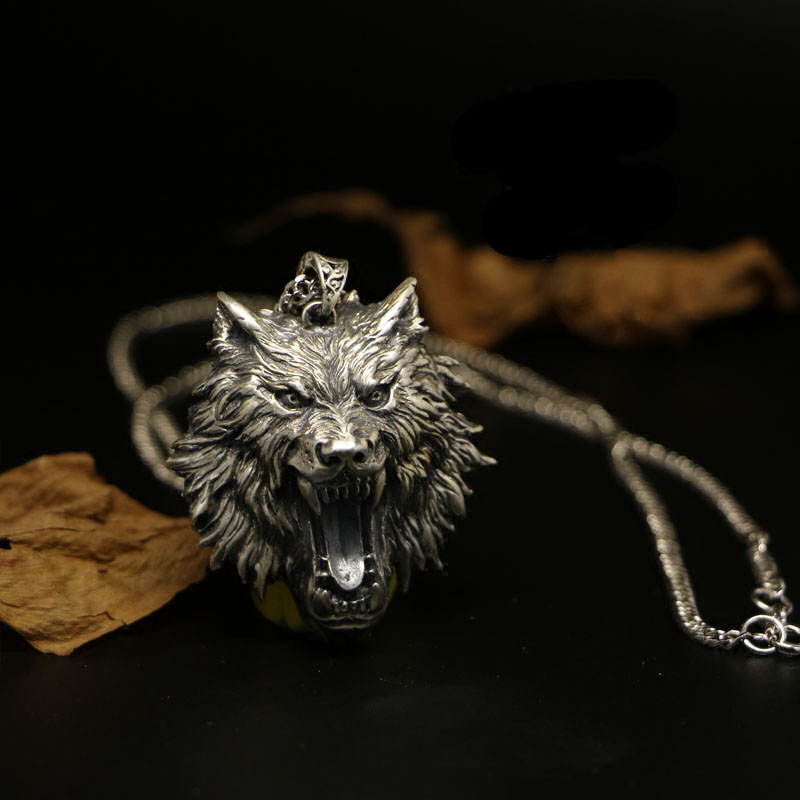 Customize Wolf Head Necklace Jewelry 925 Sterling Silver Game The Witcher Pendant Medallion Wizard Wolf 3