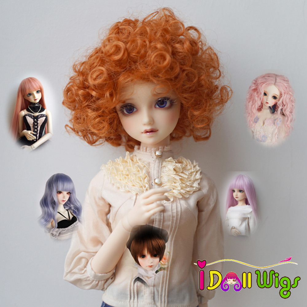 High Quality Heat Resistant Fiber Pink Brown Grey Red Hair Wigs For 1/3 1/4 1/6 BJD Dolls Only Wigs Dolls Accessories