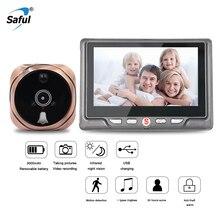 Saful 3000 мАч дверной глазок несъемный аккумулятор длительное время ожидания Поддержка 7 языков Видео дверной глазок звонок с камерой