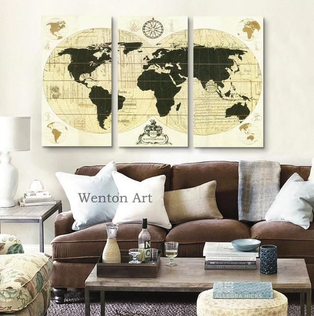 Pieces Large Vintage English World Map Painting On Canvas Wall - Large world map painting
