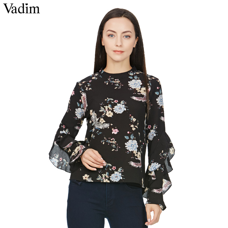 Women sweet butterfly sleeve floral print shirt vintage for Stand collar shirt womens