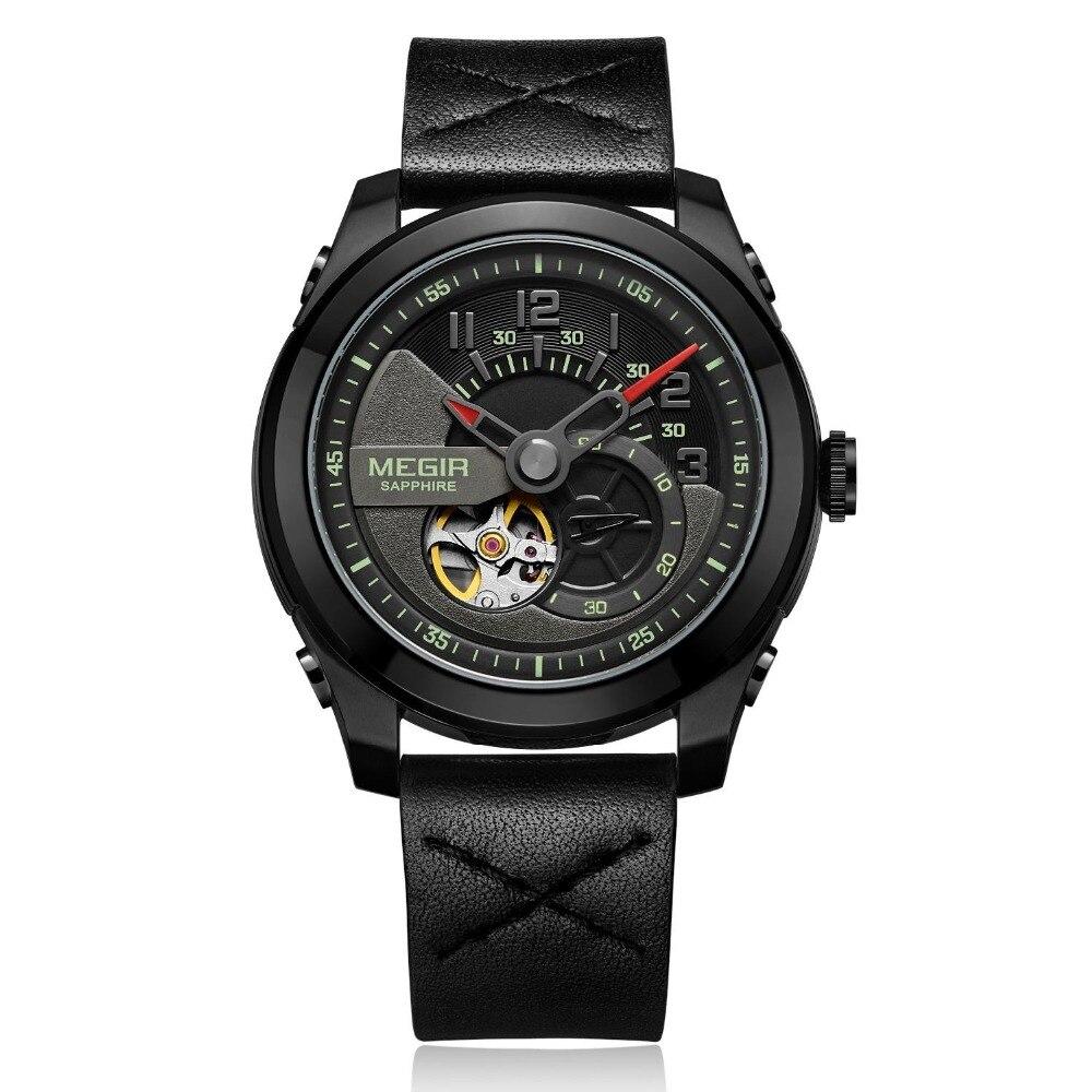 MEGIR 2018 Mechanical Automatic Watch Men Sport Tourbillon Top Luxury Brand Relojes Hombre Leather Moon Phase