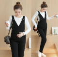 2017 new design maternity bib pants spring and autumn thin trousers all-match straight jumpsuit