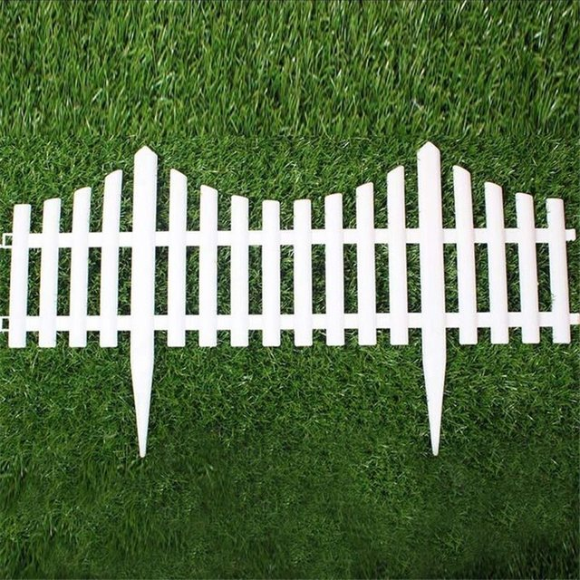 5PCS Plastic Garden Fence Easy Assemble White European Style Insert Ground  Type Plastic Fences For Garden