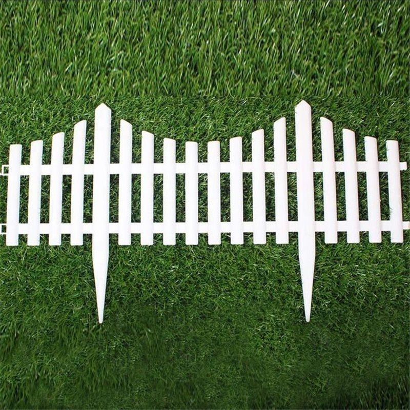 5 unids valla de jardn de plstico fcil de montar blanco estilo europeo countryyard suelo insertar