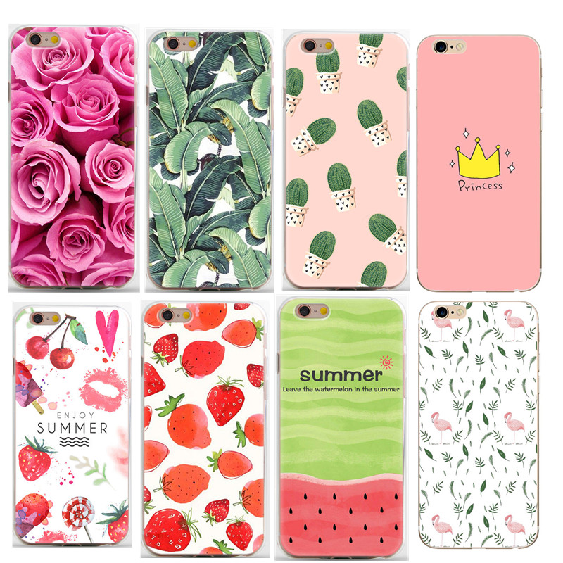 175a35d81 Mobile Phone Case For Apple iPhone 6 6S Cases Floral Rose summer fruit For  iphone6 7 8 Plus X 10 5 5 s SE Cell Cover Coque