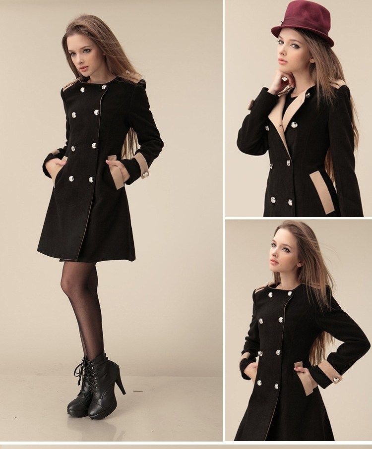 Hot Girl Chic Lady Long Sleeve Double Breasted Lapel Long Trench ...