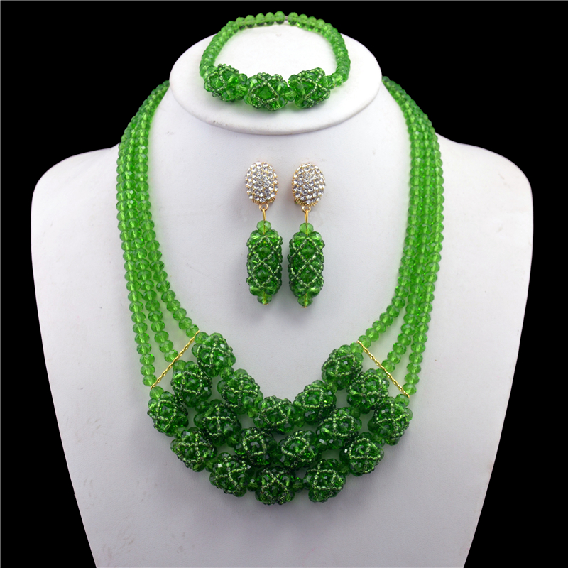 Fashion Nigerian Wedding African Beads Jewelry set Green Crystal Necklace Bracelet Earrings Jewelry Set CPS-272Fashion Nigerian Wedding African Beads Jewelry set Green Crystal Necklace Bracelet Earrings Jewelry Set CPS-272