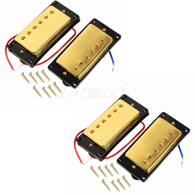 2Sets Gold Humbucker Pickup for Electric Guitar Replacement Parts kmise electric guitar pickups humbucker double coil pickup bridge neck set guitar parts accessories black with chrome gold frame