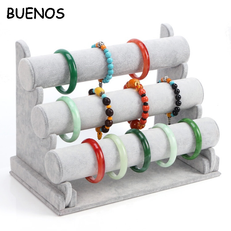 BUENOS High Quality Vintage PU Leather / Velvet T-Bar Rack Bracelet Chain Watch Jewelry Organizer Holder Jewelry Display Stand