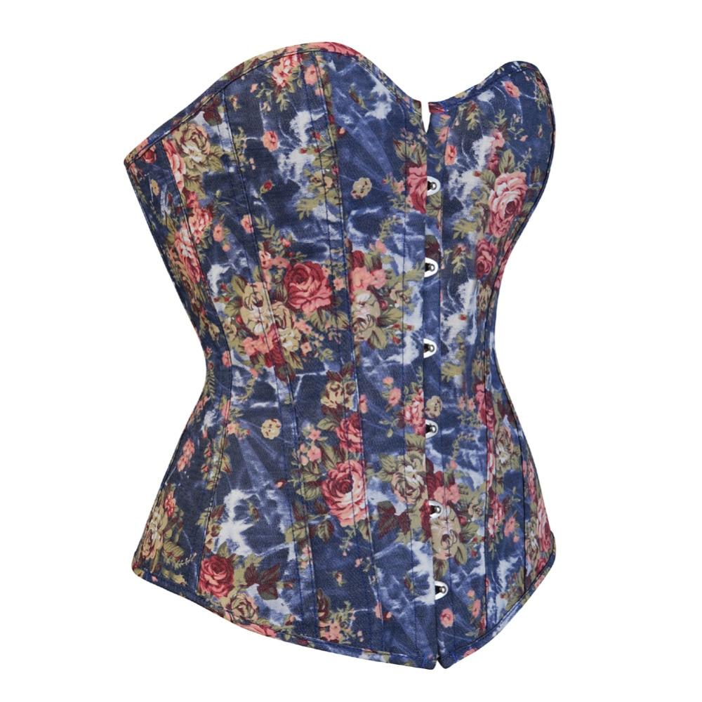 Sexy Floral Overbust Corset Lace Up Boned Waist Cincher Sliming Bustier Clubwear Plus Size S-2XL