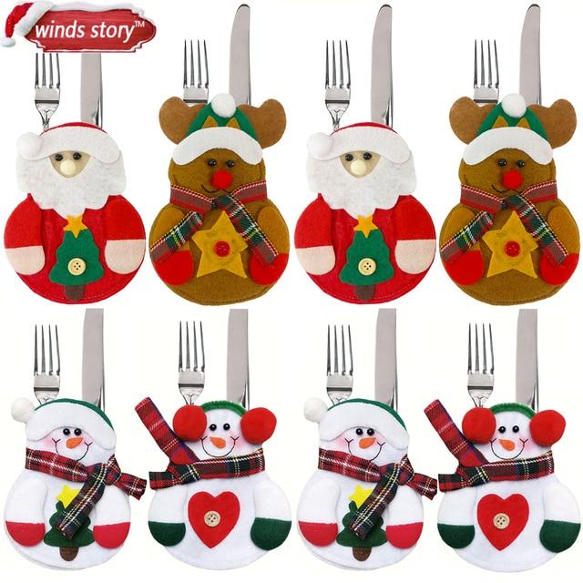 Superieur 8pcs Christmas Decorations Snowman Kitchen Tableware Holder Bag Party Gift  Xmas Ornament Christmas Decorations For Home