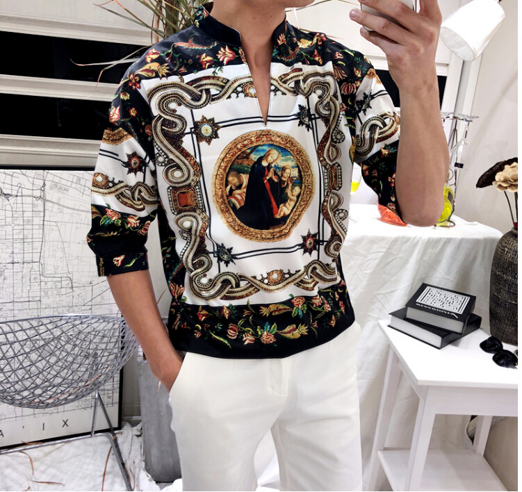 2018 Men Clothes Slim Fit Long Sleeve Shirt Classic