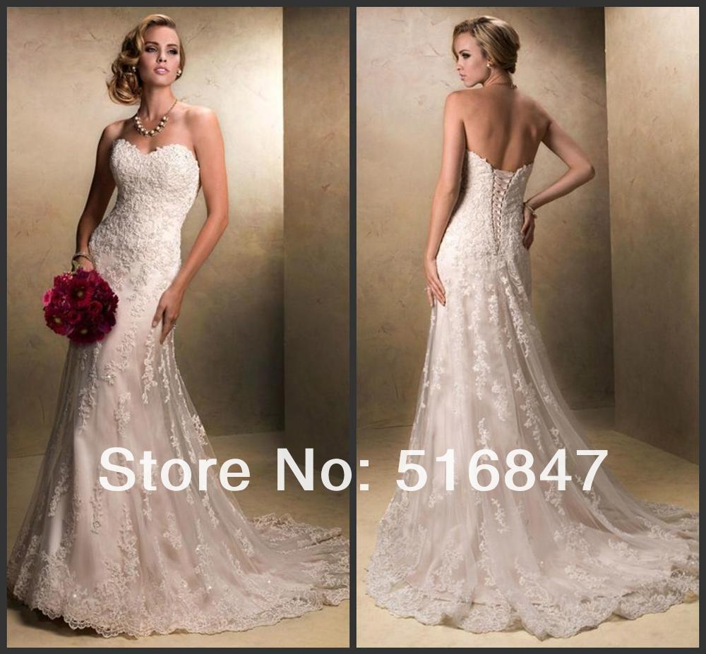 New white ivory beading lace bridal gown back lace up for Lace up back wedding dresses