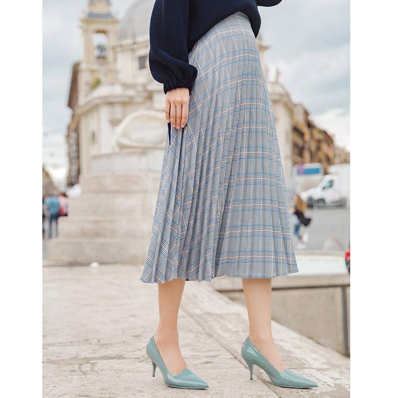 INMAN Spring Autumn Pleated Retro Artistic Classic Plaid A Line Women Skirt