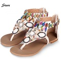 Big Size 34-41 Fashion Women Sandals Summer Rhinestone Flat Casual Shoes Sexy T Straps Gladiator Sweets Cute Bohemian Sandals
