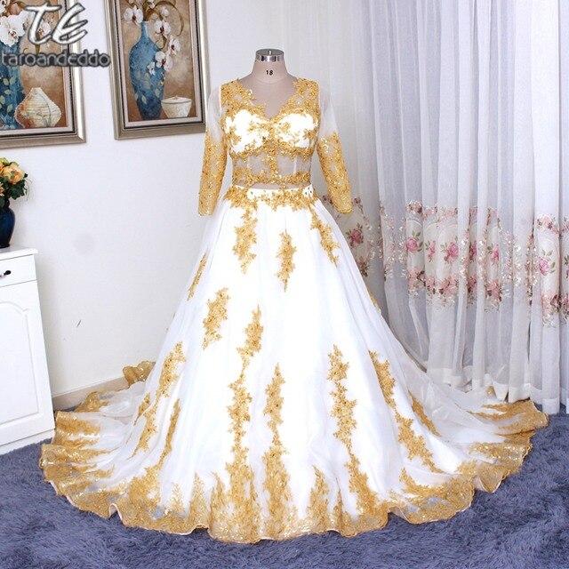 Золото Кружево Бусины Роскошные 3/4 одежда с длинным рукавом Винтаж Свадебные Платья для женщин Золушка Двойка свадебное платье плюс Размеры Арабский бальное платье