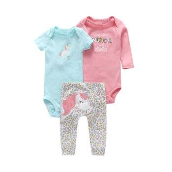 6-24 THÁNG trẻ sơ sinh trang phục 3 cái quần áo bộ cho trẻ sơ sinh bé trai cô gái dễ thương Phim Hoạt Hình kỳ lân bodysuit + romper + quần cotton