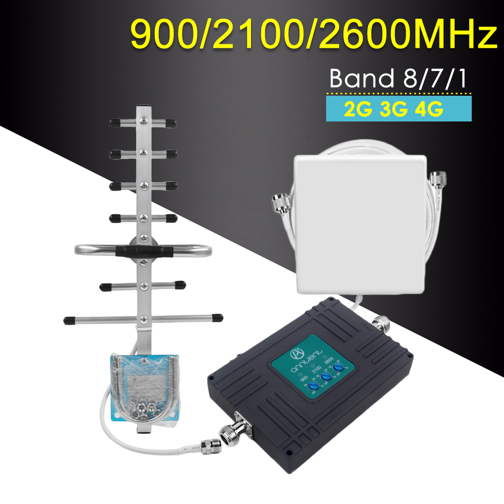 Mobile Signal Booster Gsm 3G 4G Tri-band Repeater 900/2100/2600MHz GSM Repeater 4G Lte Amplifier Cellular Mobile Network Booster
