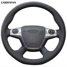 Черный чехол рулевого колеса автомобиля из искусственной кожи для Ford Focus 3 2012- KUGA Escape 2013