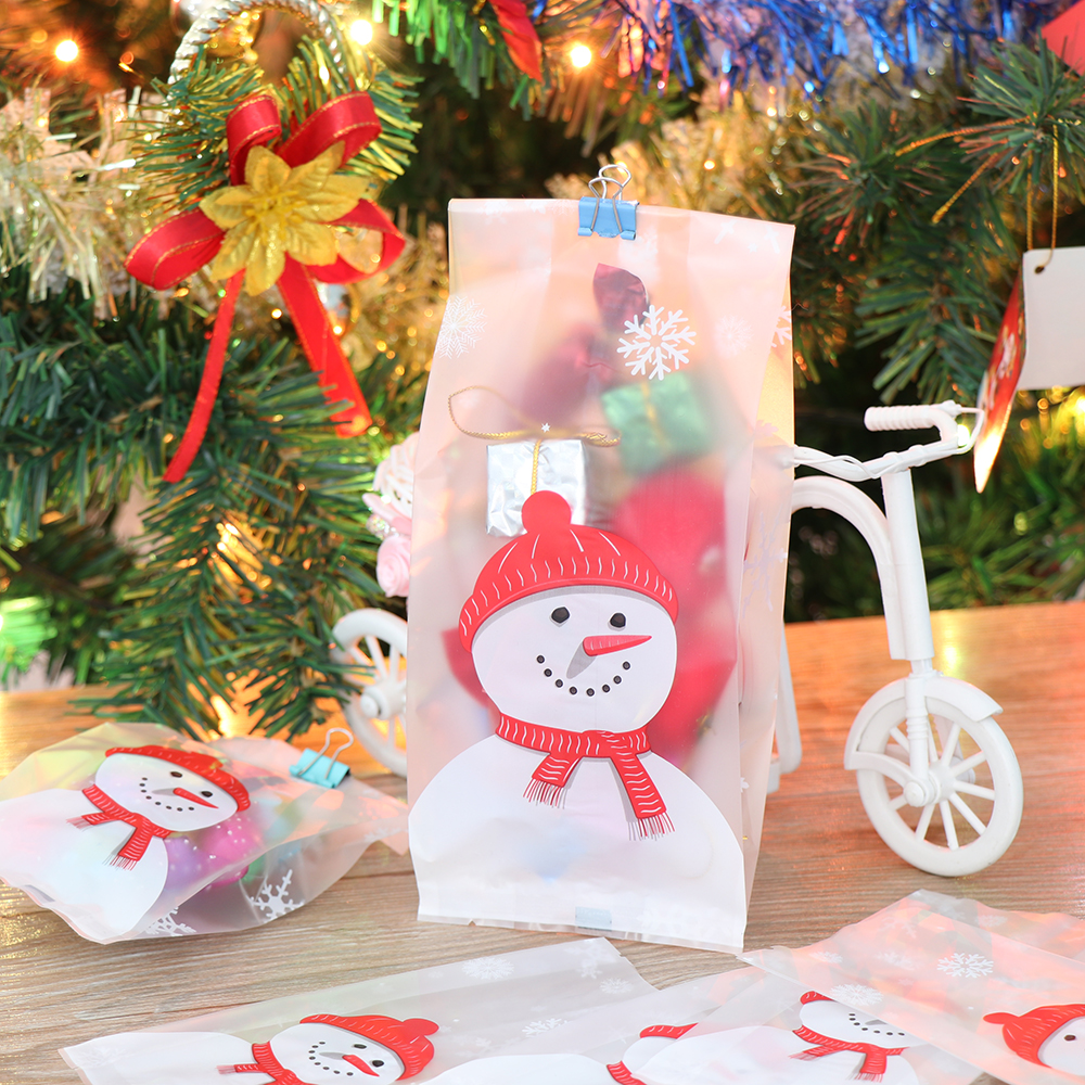 50pcs/lot Merry Christmas Baking Packaging Bags Cartoon Candy Storage