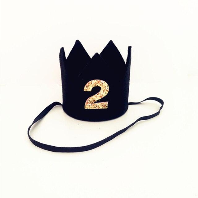 Chłopiec pierwsze urodziny czarny filc korona dziecko 1st 2nd 3rd urodziny na przyjęcie do czapki urodziny Smash ciasto kapelusz dla chłopca zdjęcie Prop