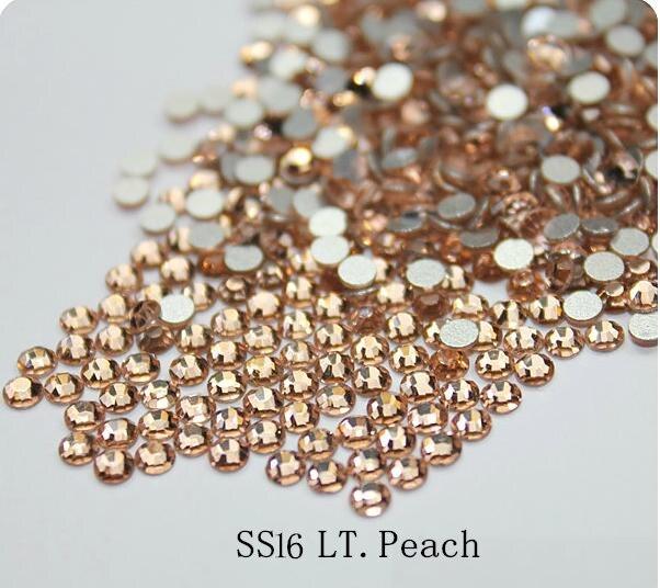 1440 UNIDS 16SS SS16 3.8-4.0mm posterior Plana LT. PEACH Champagne Glitter Non-hotfix Pegamento Fijo Color Nail Art Rhinestones Rhines piedras