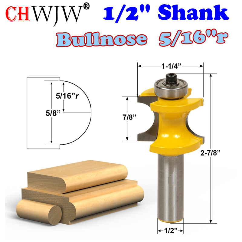 1 pc 1/2 Shank Bullnose Router Bit 5/16r - 5/8 Bead Woodworking cutter Tenon Cutter for Woodworking Tools - CHWJW 13116 пэт 0 5 1 5 2 0 краснодар