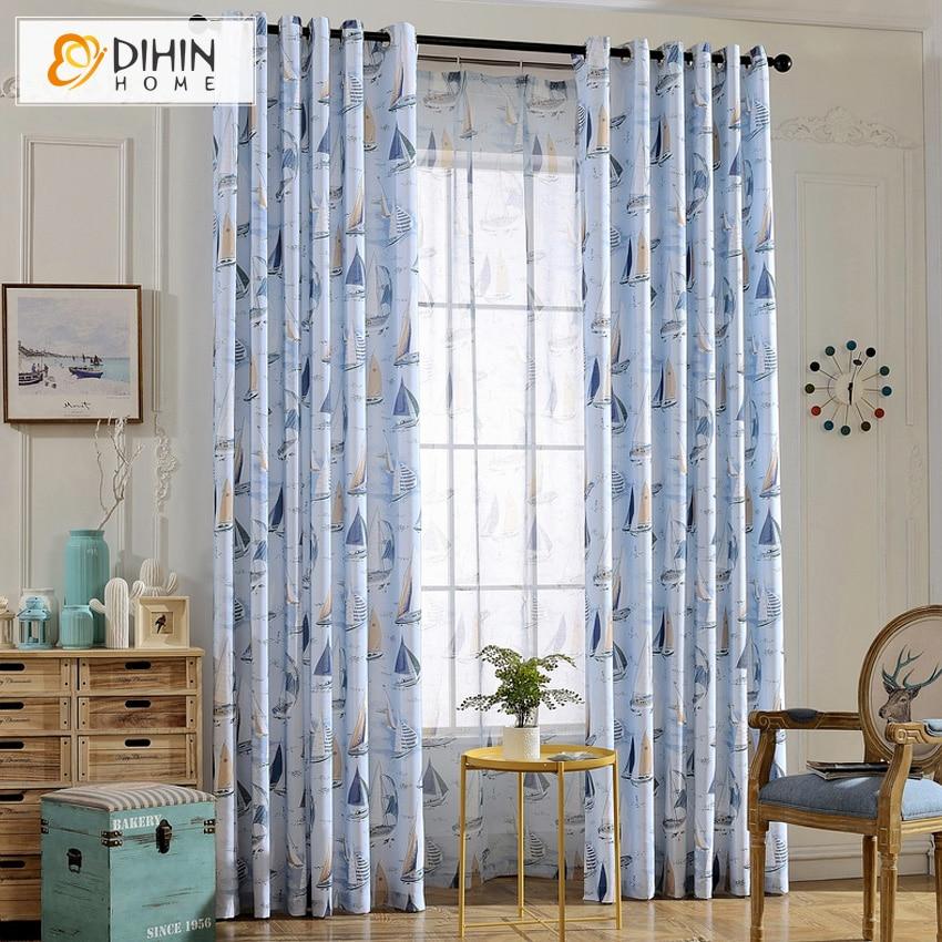 DIHIN HOME Korea Style Cartoon Boat Blackout Curtain High Qaulity Cloth  Curtains For Bedroom(China