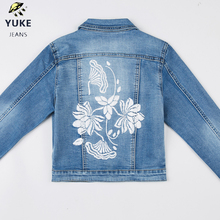 YUKE New Style Girl Denim Jacket Girl Embroidered Hole Denim Jacket Female  Denim Clothing, Coat, 5-10 Age I34177-8 graphic embroidered pocket front denim jacket
