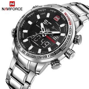 Image 2 - Naviforce 브랜드 남자 군사 스포츠 시계 망 led 아날로그 디지털 시계 남성 육군 스테인레스 쿼츠 시계 상자 세트 판매