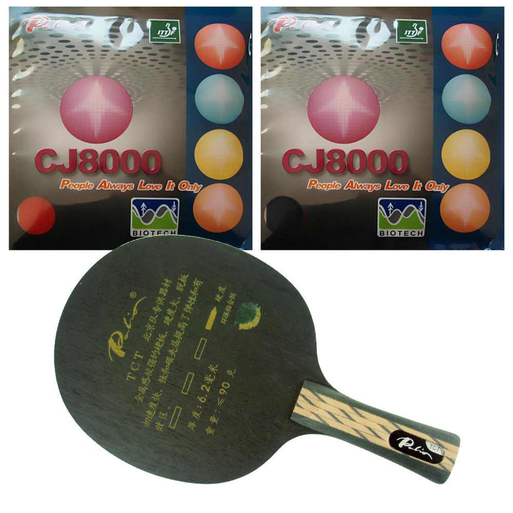 Pro Table Tennis (PingPong) Combo Racket: Palio TCT Blade with 2x Palio CJ8000 (BIOTECH) 36-38 degree Rubbers FL
