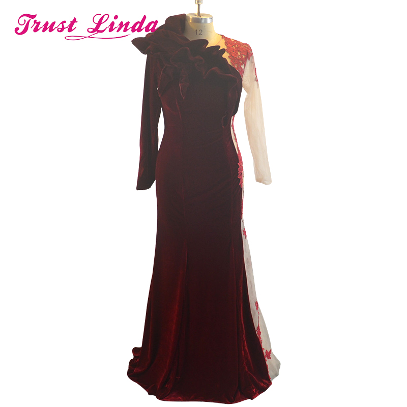 Unique Design Mermaid Prom Gown Long Sleeves Velvet Red Wine Lace Appliques Elegant Dress For Wedding Party Custom Made