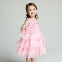 76a5a904b4 2019 Formais Vestidos Da Menina de Flor Crianças Decote Em V Rosa Vestidos  Kid Criança Roupas Para Meninas De 2 3 4 6 8 10 12 An..