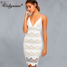 Colysmo White Lace Dress Women Elegant Summer Dress Mini Party Lace Bodycon Dress Sexy Club Wear Plus Size Dresses Vestido 2018(China)