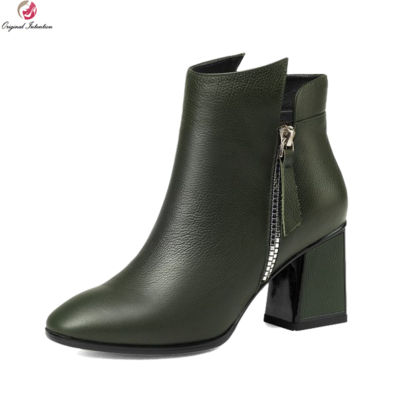 Original Intention Stylish Women Ankle Boots Round Toe Square Heels Boots Elegant Black Army Green Shoes Woman US Size 3-10.5 цена