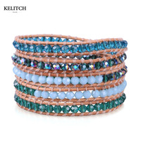 KELITCH Jewelry 1Pcs Blue Crystal Beads with Leather Wrap Adjustable Women Bracelet Best Gift Card Box Package Drop Shipping