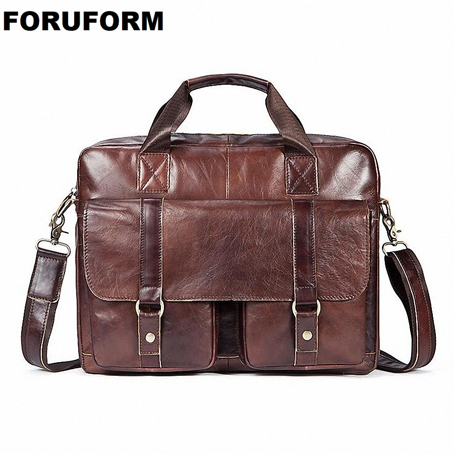 Genuine Leather Briefcases 14 Inch Laptop Handbag Vintage Men's Business Crossbody Bag Messenger/Shoulder Bags For Men LI-2070