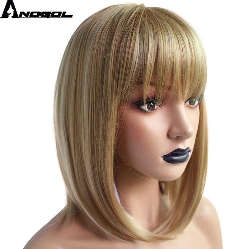 Anogol High Temperature Fiber Perruque Peruca Short Straight Bob Wigs Black Ombre White Blonde Synthetic Wig For Women Costume