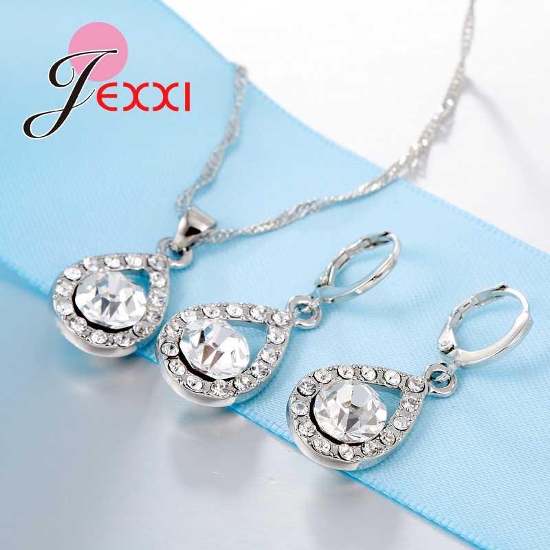 Romantische Frauen Dame Party Hochzeit Schmuck Sets 925 Sterling Silber Voller Zirkonia Wasser Tropfen Halskette Ohrringe Set