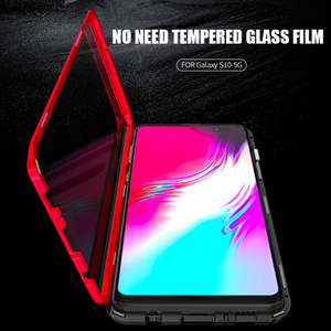 Image 4 - For Samsung Galaxy S10 5G S10 Plus S10e Case 360 Degree Full Magnetic Cover Front Back Glass Case For Galaxy S10 5G Magnet Case