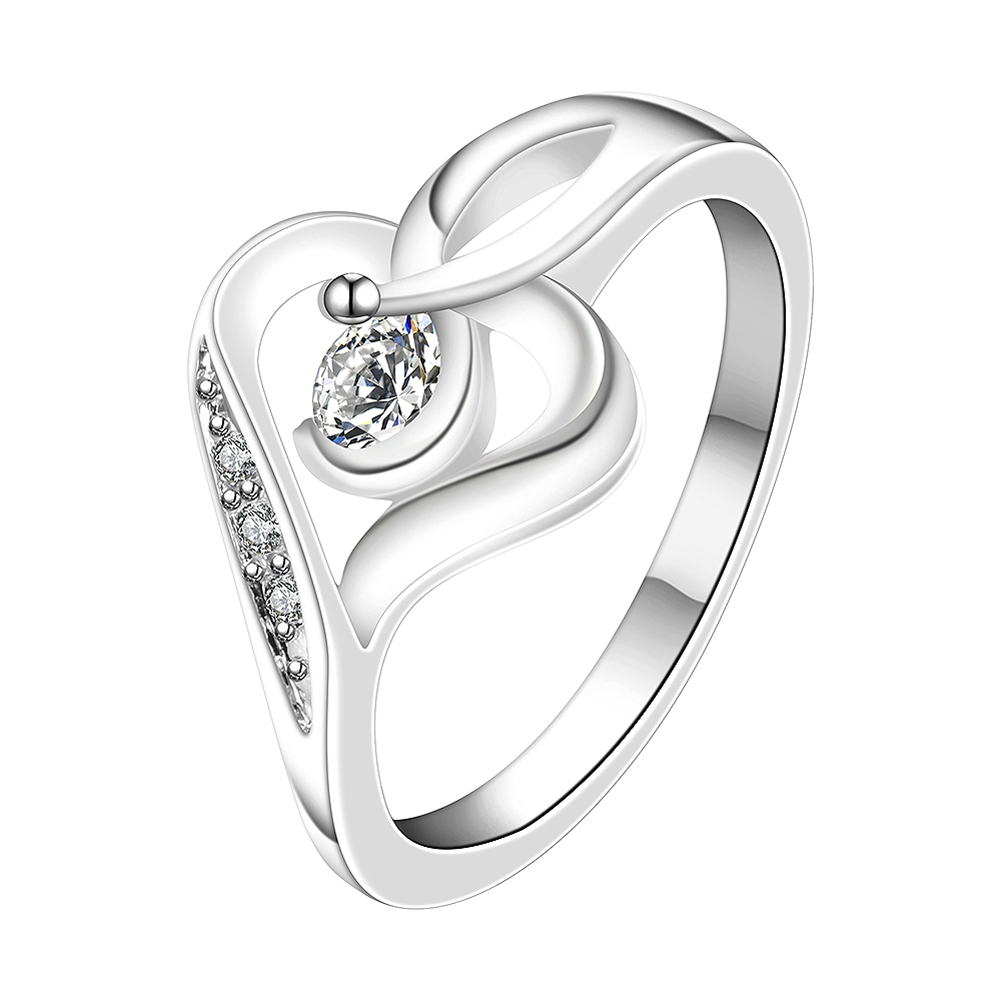 On Sale Romantic Heart Design Silver Plated New Design Finger Ring ...
