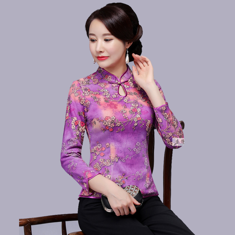 2018 automne nouveau femmes hauts grande taille 4XL décontracté lâche femmes Blouses dames Sexy chinois Mandarin col chemises Blouses