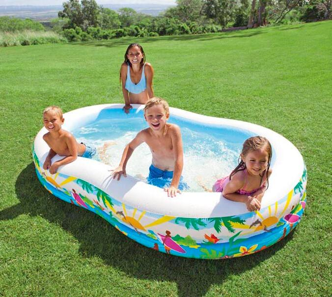 INTEX 56490 bicyclic eight-shaped pool inflatable pool family swimming pool thickened paddling pool size 262 * 160 * 46CM environmentally friendly pvc inflatable shell water floating row of a variety of swimming pearl shell swimming ring