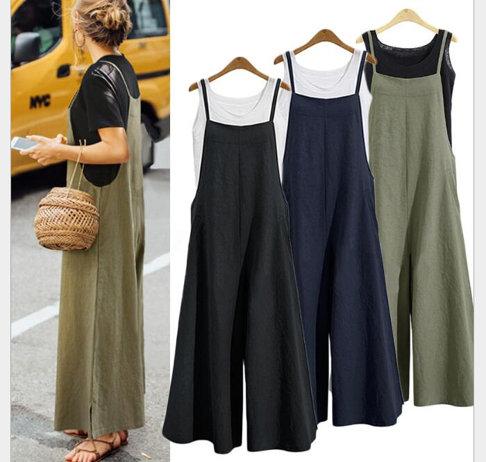 Women Casual   Jumpsuit   plus size Long Loose Solid Bib Wide Leg Overalls Pants Summer   Jumpsuit   Sleeveless Clubwear Wide Leg Pant