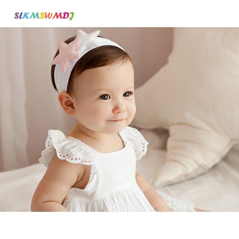 SLKMSWMDJ novas crianças bonito do bebê do algodão menina mantilha acessórios pentagrama estrela estilo ampla headband 2 cores 1 pcs