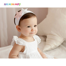 SLKMSWMDJ new children cute cotton baby girl headdress accessories pentagram star style wide headband 2 colors 1 pcs