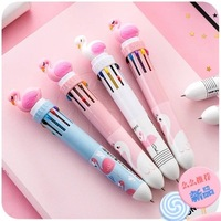 36pcs/set Hot Sale Cartoon Silicone Multi color Flamingo Ballpoint Pen Ten color Press Pen Unicon Ten Colour Ball Pen