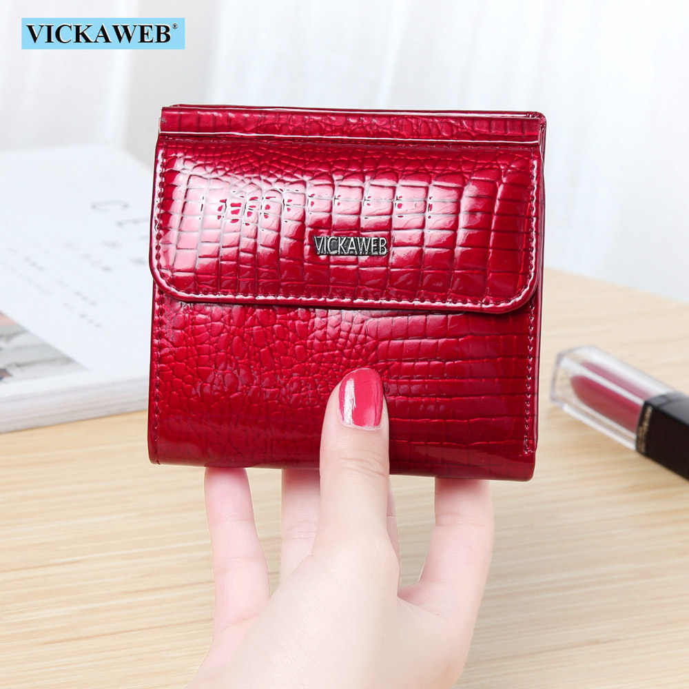 VICKAWEB Mini billetera de cuero genuino para mujer, billeteras de moda con broche de cocodrilo, billetera corta para mujer, carteras y monederos pequeños para mujer 209